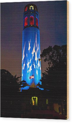 Coit Tower On The Anniversary Of 9/11 Wood Print