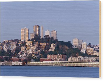 Coit Tower Sits Prominently On Top Of Telegraph Hill In San Fran Wood Print by Scott Lenhart