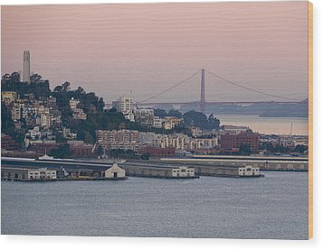 Coit Tower Sits Prominently On Top Of Telegraph Hill In San Francisco Wood Print by Scott Lenhart