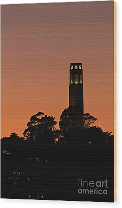 Wood Print featuring the photograph Coit Tower Sunset by Kate Brown