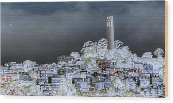 Coit Tower Surreal Wood Print by Diego Re