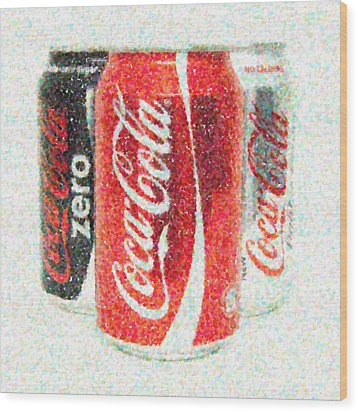 Coka Cola Pointillism Wood Print by Antony McAulay
