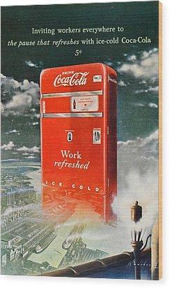 Coke - Coca Cola Vintage Advert Wood Print by Georgia Fowler