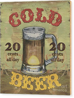 Cold Beer Wood Print by Debbie DeWitt