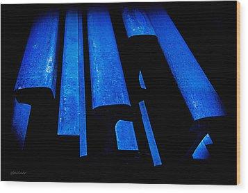 Cold Blue Steel Wood Print by Steven Milner