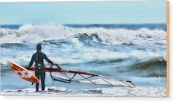 Cold Feet - Stormy Seas - Outer Banks Wood Print by Dan Carmichael