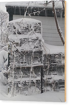 Wood Print featuring the photograph Cold Lobster Trap by Robert Nickologianis