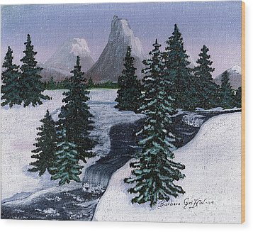 Cold Mountain Brook Wood Print by Barbara Griffin