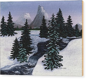 Cold Mountain Brook Painterly Wood Print by Barbara Griffin