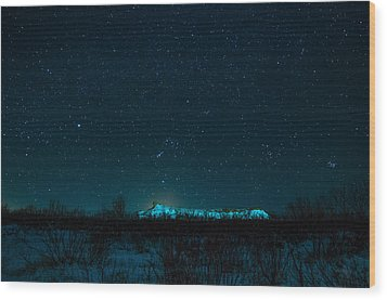 Cold Night On The Saddle Horn Wood Print