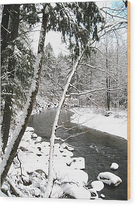Cold River Greeting Card Wood Print by Will Boutin Photos