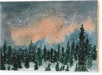 Cold Snow At Twilight Wood Print by R Kyllo