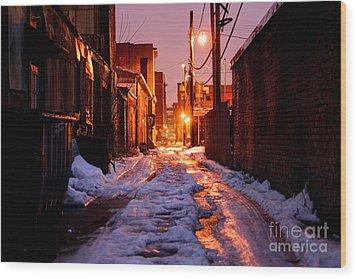 Cold Urban Alleyway Wood Print by Denis Tangney Jr