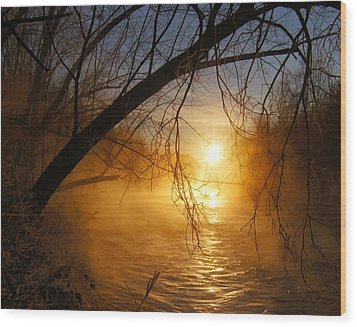Cold Water Sunrise Wood Print by Jeremy Farnsworth