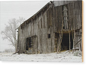 Cold Winter At The Barn  Wood Print by Wilma  Birdwell