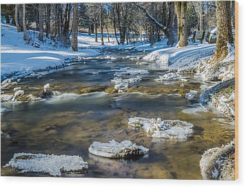 Cold Winter Creek Wood Print