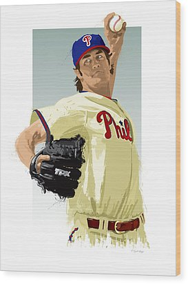 Wood Print featuring the digital art Cole Hamels by Scott Weigner
