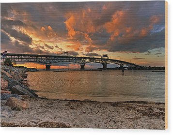Coleman Bridge At Sunset Wood Print by Jerry Gammon