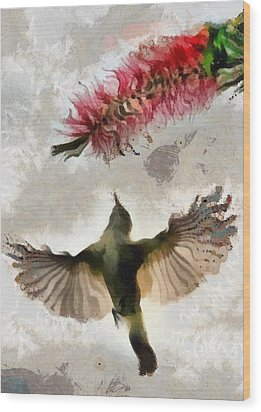 Wood Print featuring the painting Colibri by Georgi Dimitrov