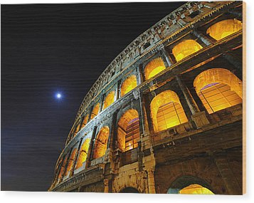 Coliseum Wood Print by Aaron Bedell