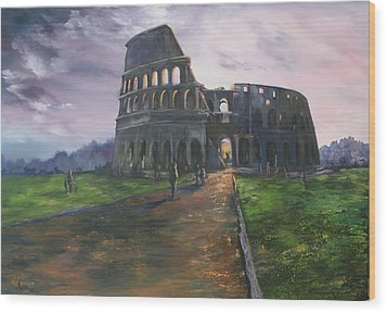 Wood Print featuring the painting Coliseum Rome by Jean Walker