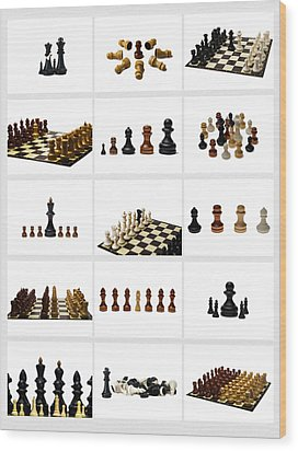Collage Chess Stories 1 - Featured 3 Wood Print by Alexander Senin