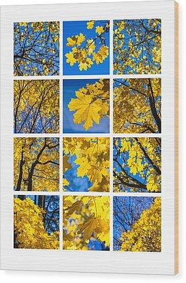 Collage October Blues Wood Print by Alexander Senin