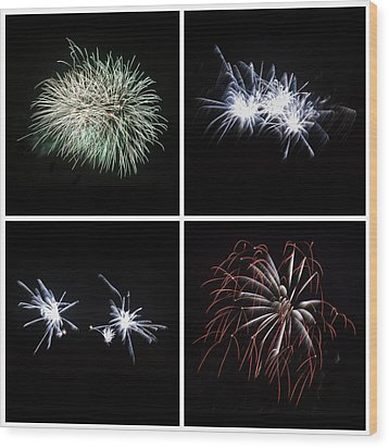 Collection Of Bright Colorful Firework Burst Explosions On Black Wood Print by Matthew Gibson