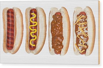 Collection Of Hotdogs Wood Print