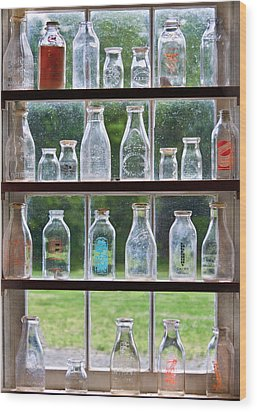 Collector - Bottles - Milk Bottles  Wood Print by Mike Savad