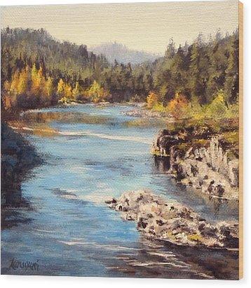 Colliding Rivers Fall Wood Print by Karen Ilari