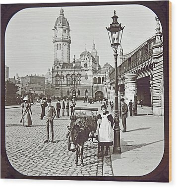 Wood Print featuring the photograph Cologne Germany Street Scene 1903 Vintage Photograph by A Gurmankin