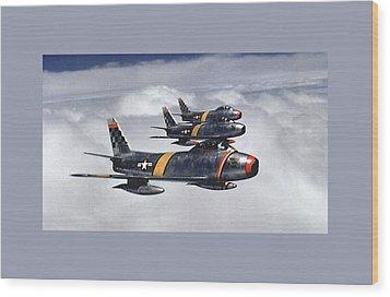 Colonel Ben O Davis Leads Flight F 86 Sabres Over Korea Medium Border Wood Print by L Brown