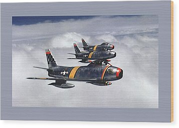 Colonel Ben O. Davis Leads Flight F 86 Sabres Over Korea Small Border  Wood Print by L Brown