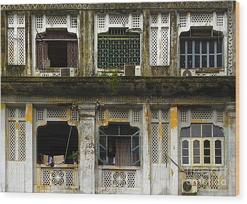 Colonial Facade Bo Soon Pat Street 8th Ward Central Yangon Burma Wood Print by Ralph A  Ledergerber-Photography