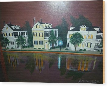 Colonial Lake View Wood Print