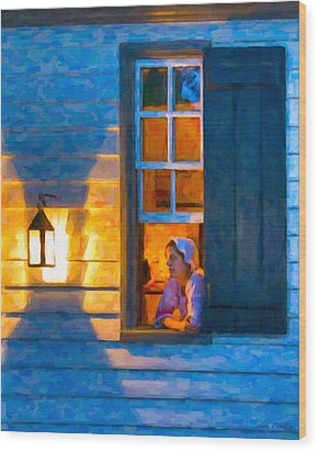 Colonial Williamsburg By Night Wood Print by Mark E Tisdale