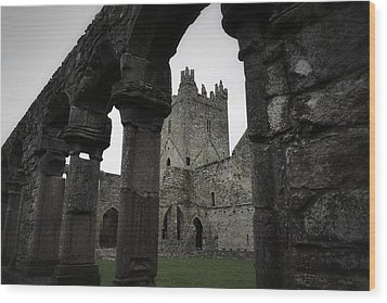 Colonnade And Tower Of Jerpoint Abbey Wood Print