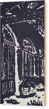 Colonnial Interior Wood Print by Oscar Penalber