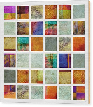 Color Block Collage Abstract Art Wood Print by Ann Powell