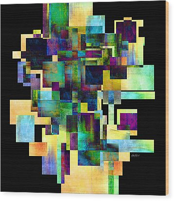 Color Block On Black One Abstract - Art Wood Print by Ann Powell