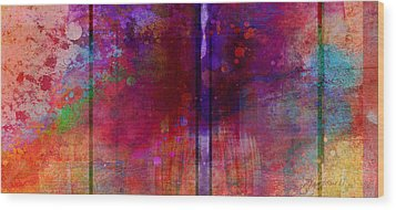 Color Burst Two Abstract Art  Wood Print by Ann Powell