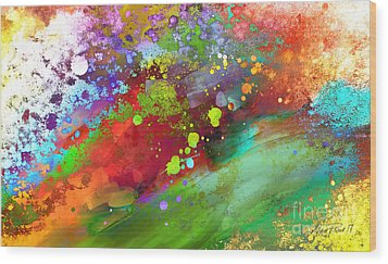 Color Explosion Abstract Art Wood Print