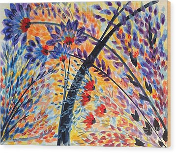 Color Flurry 3 Wood Print by Holly Carmichael