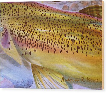 Color Me Trout- Brown Wood Print by Anderson R Moore