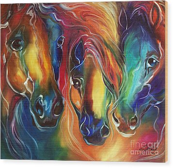 Color My World With Horses Wood Print by Marcia Baldwin