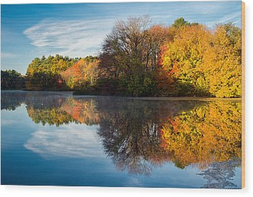 Color On Grist Mill Pond Wood Print by Michael Blanchette