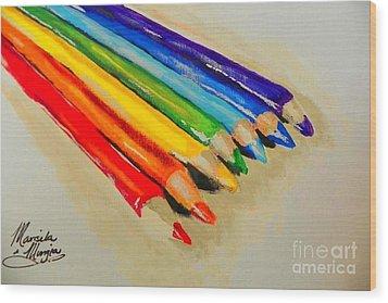 Color Pencils Wood Print by Marisela Mungia