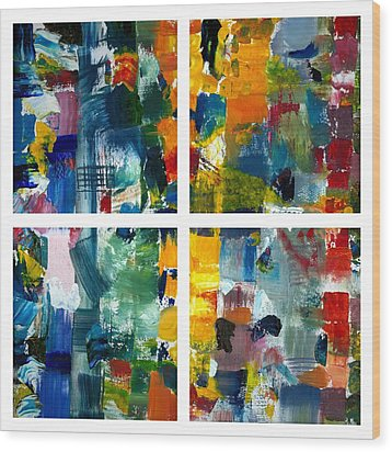 Color Relationships Collage Wood Print by Michelle Calkins