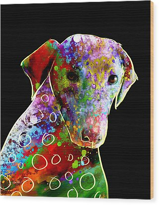 Color Splash Abstract Dog Art  Wood Print by Ann Powell